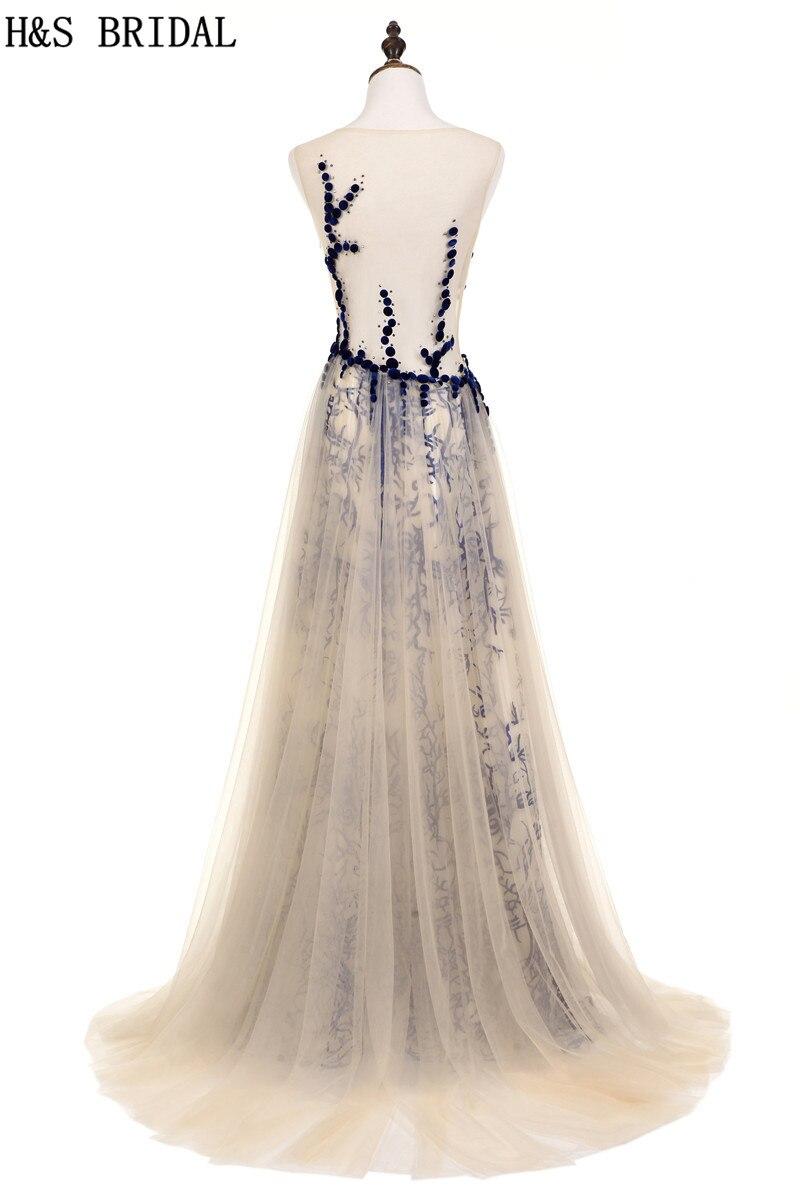 Braut Festa Soiree amp; Prom De Kleider Vestido Kleid Robe Tüll H Illusion Spitze Marineblau 2019 Sexy Abendkleid S Champagne Lange Tasten E6qxHw