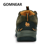 GOMNEAR Authentic Camel Genuine Leather Hiking Sneakers Outdoor Walking tourism  Fishing Breathable Shoes Male Big Size Boots