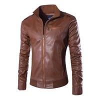 Herobiker Retro Classic Motorcycle Leather Jacket Men Stand Collar Slim Biker Windproof PU Leather Moto Jacket Coat Size M XXXL