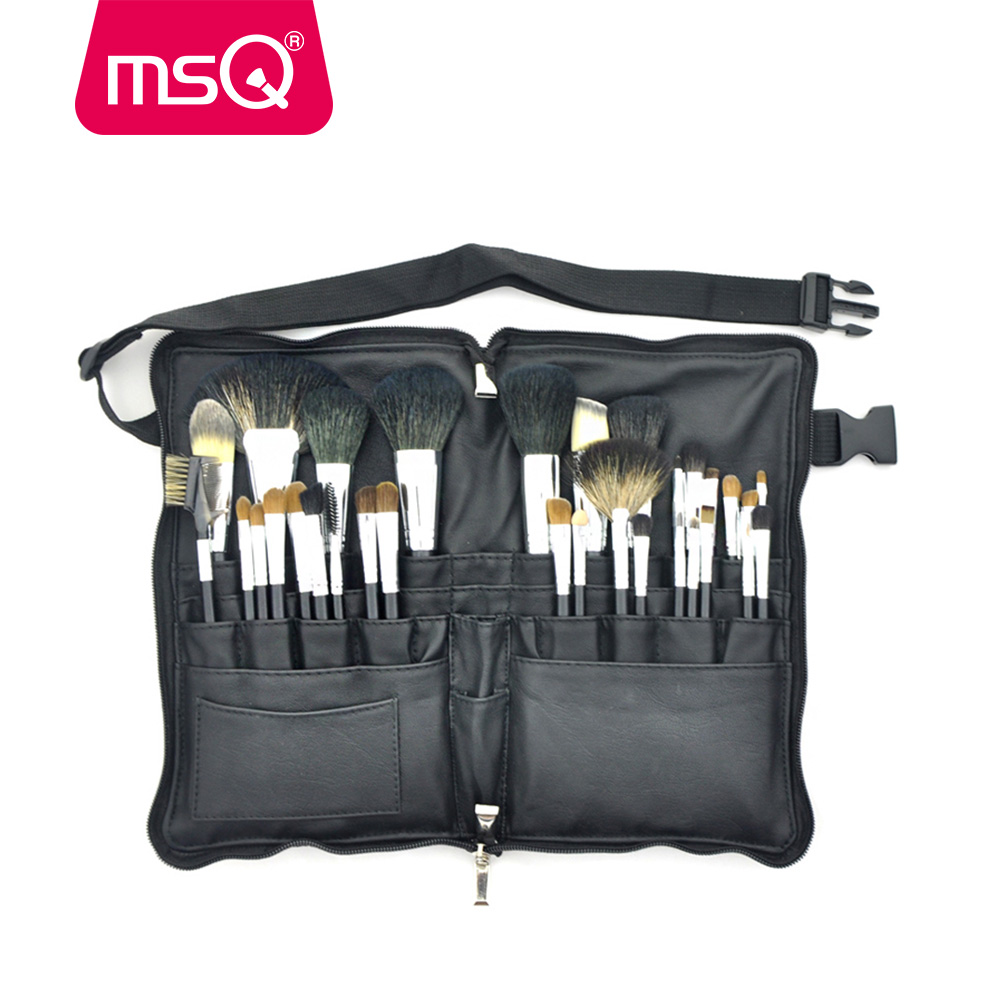 MSQ 32PCS Pro Makeup Brushes Set High Quality Animal Hair Foundation Powder Eyeshadow Make Up Brush Kit With PU Leather Case high quality 24pcs makeup brushes set cosmetic make up brush tool kit fan foundation powder eyeliner brushes with leather case