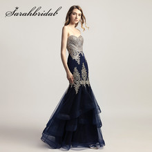 Navy Blue Prom Dresses Long Mermaid Sexy Sweetheart Designer Embroidery  Ruffles Skirt Party Evening Gowns Floor Length CXL462 da2cf792273c