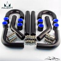 Universal 2.75 70mm Aluminum Intercooler Turbo Piping Pipe hose T Clamp Kit