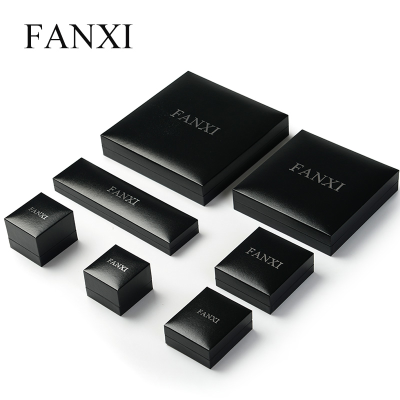 FANXI Free Shipping Black High quality Paper Velvet Material Ring Necklace Earring Box J ...