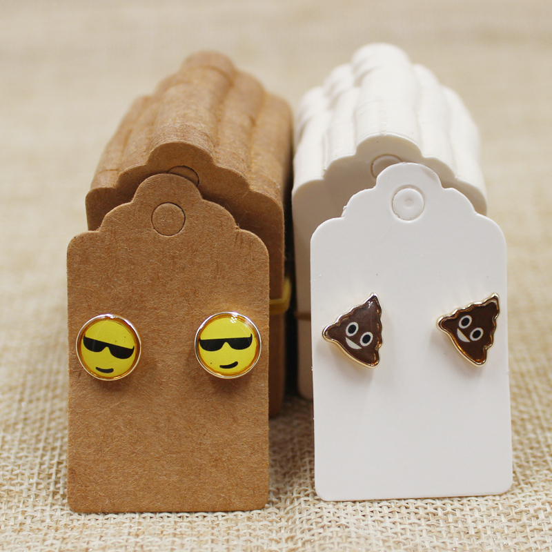 5*3cm  200pcs Per Lot Paper White/kraft Stud Earring Display Card Blank Hang Tag Jewelry Earring Card