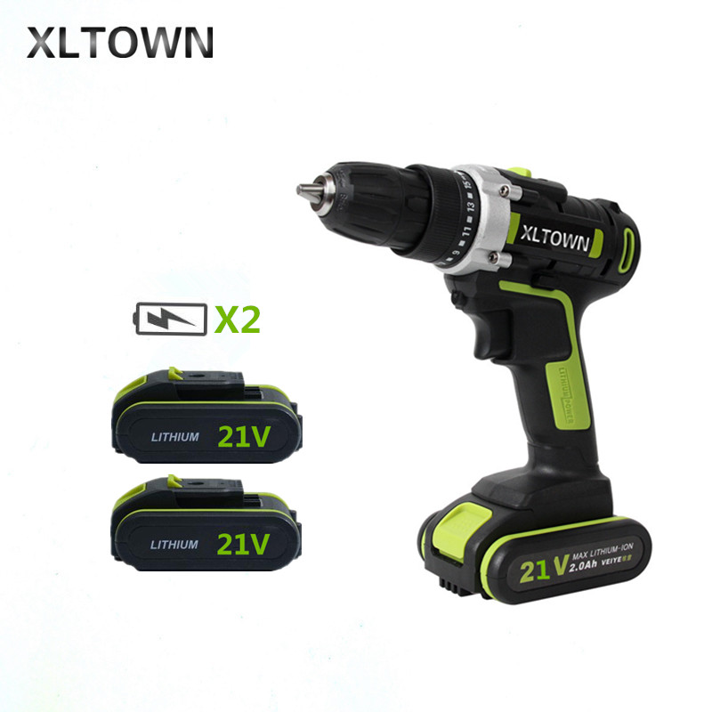 XLTOWN 21v 2000mAh electric screwdriver with 2 battery lithium battery rechargeable Multi-function household electric drill