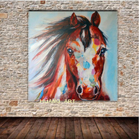 Hand Painted brown Horse Oil Painting on Thick oil knife Horse Canvas Abstract Knife Horse Painting for Living Brown Horse