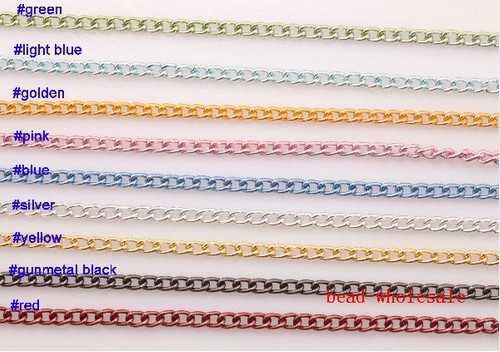 OMH Wholesale Free Ship 1m Curb Aluminum Open Link Chains Lot For Necklace Bracelet U Choose Color Jewelry DIY  Manual Making