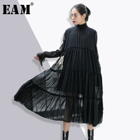 EAM 2018 New Spring Stand Collar Long Sleeve Solid Color Black Chiffon Split Joint Loose