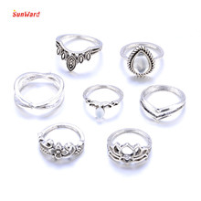 SunWard 7pcs/Set Women Bohemian Vintage Blue Rings Set Party Wedding Jewelry For Women Gift