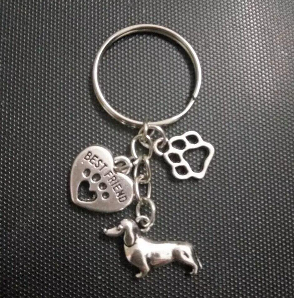 Greyhound Dog&Heart-Cat/dog paw Keychain-Fashion jewelry Tibetan silver charm Sausage dog pendant key chain ring Keychain D380
