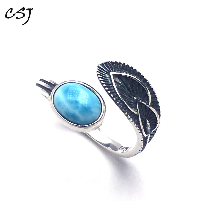 CSJ Natural blue Larimar rings sterling 925 silver Vintage Style Jewelry Wedding Engagement Party for Women Lady Girl Gift in Rings from Jewelry Accessories