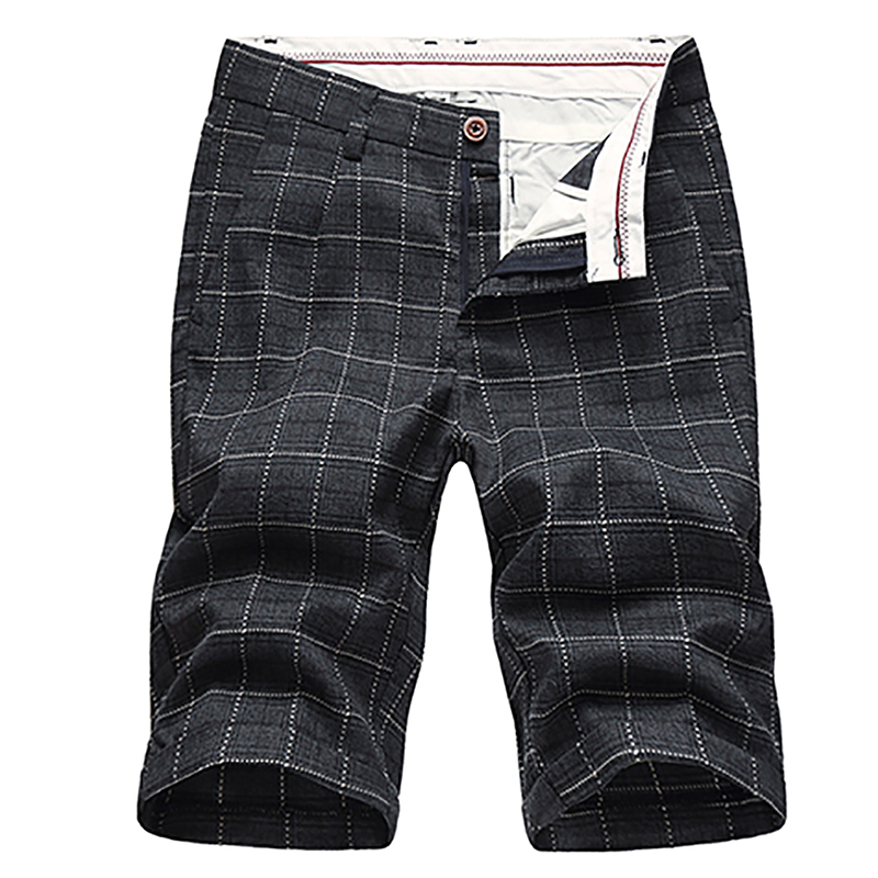 2019 Summer Men's Shorts With Zipper Men's Knee Length Shorts Male's Casual Plaid Shorts Fashion Male's Clothing Mid Wasit D40