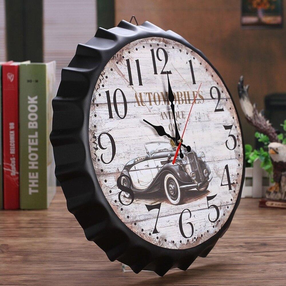 Classic 34cm Beer Soda Bottle Cap Wall Clock Vintage European Style Metal Wall Clock Restaurant Bar Home Coffee Shop Decor