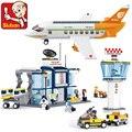 SLUBAN Строительство Образовательные Кирпичи Строительные Блоки Устанавливает Серии Авиация Международного Аэропорта Детей игрушки Kid Рождественских Подарков