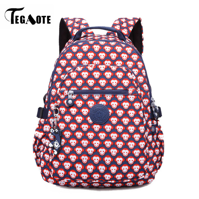 a76d60e7be TEGAOTE Fashion Women Printing Monkey Backpacks teenage girl Nylon  Waterproof Laptop bags for college school bag