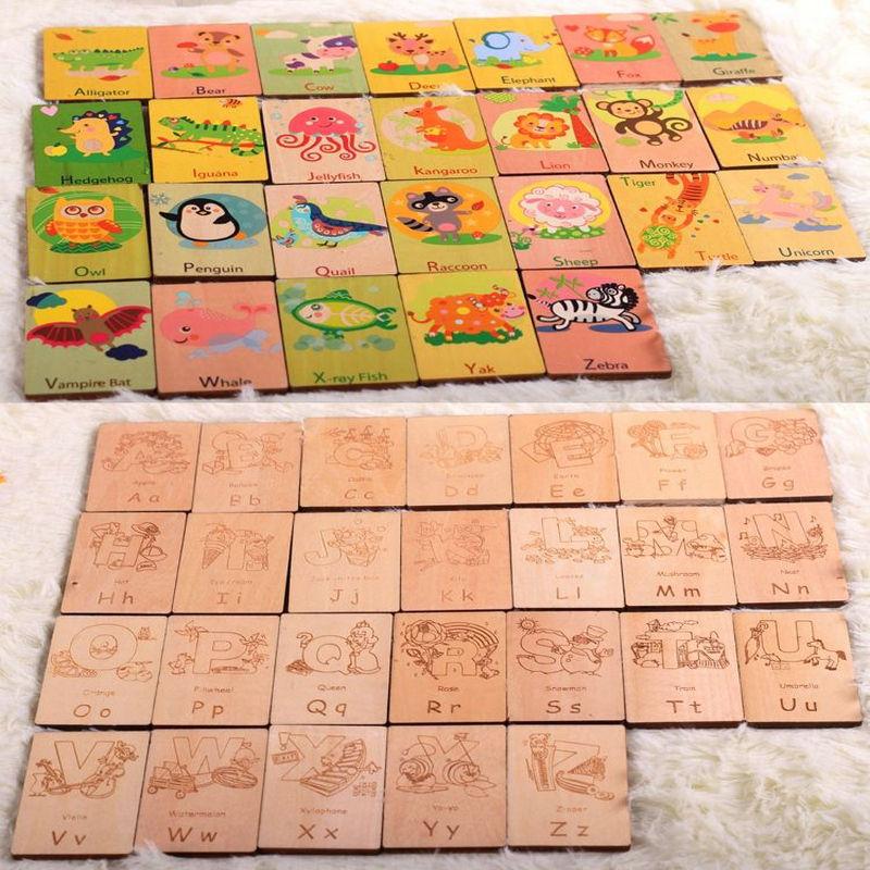 Gratis verzending 26 stuks houten alfabet leren kaart boek - Leren en onderwijs