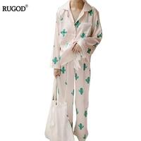 RUGOD Cute Cactus Print Pajama Sets For Women 2 Piece Cotton Set Turn Down Collar Long