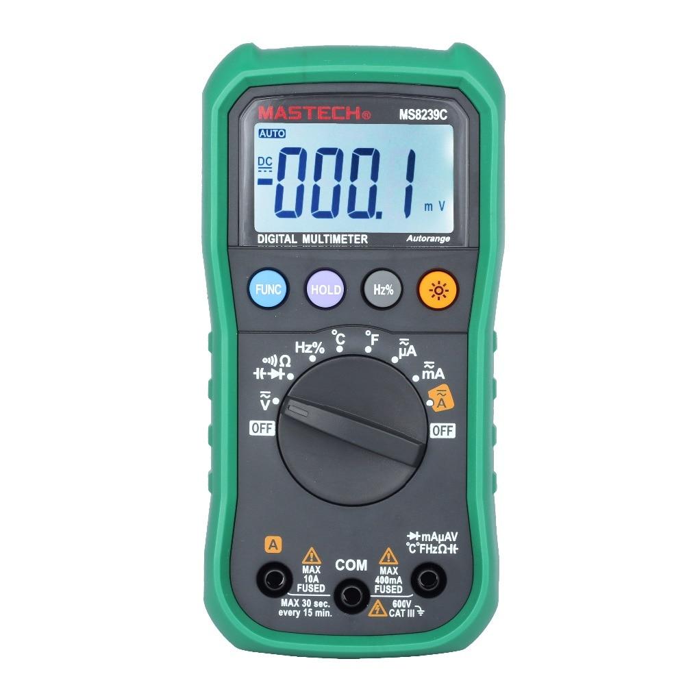 Multímetro Digital MASTECH MS8239C AC DC tensión corriente capacitancia frecuencia temperatura Tester Auto Range Multimetro 3 3/4