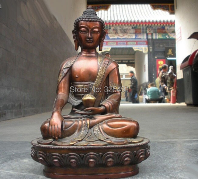 Chinese Buddhism Temple Red Bronze carve Sakyamuni Ru Lai Buddha StatueChinese Buddhism Temple Red Bronze carve Sakyamuni Ru Lai Buddha Statue