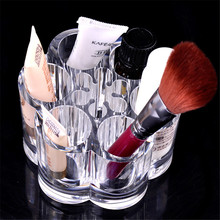 Zero Plum Flower Clear Acrylic Shaped Cosmetic Lipstick Brush Holder Makeup Case