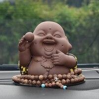 Car Ornament Maitreya Buddha Figurine Cute Buddhist Automobile Interior Dashboard Decoration Pendant Home Furnishing Accessories