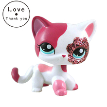pet shop lps toys 2291 short hair cat Sparkle Eyes White Red kitty Action Figure For