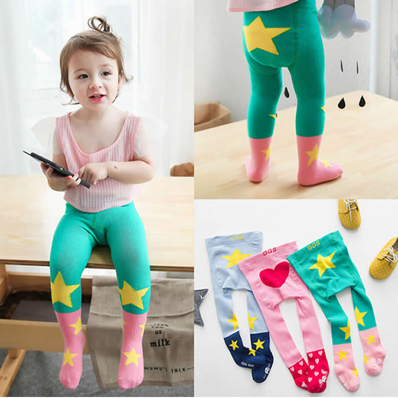 Children Tights Bottoming Pantyhose baby s stocking Girls Cute Cartoon Five Pointed Star Love Boy Anti-skid Tights Beikinyuans