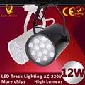 1pcs Black White Led Track Light 12W 110V 120V Commercial Lighting Renovation Led Ceiling Spot Lamp Clothing Store 12W 85-265V
