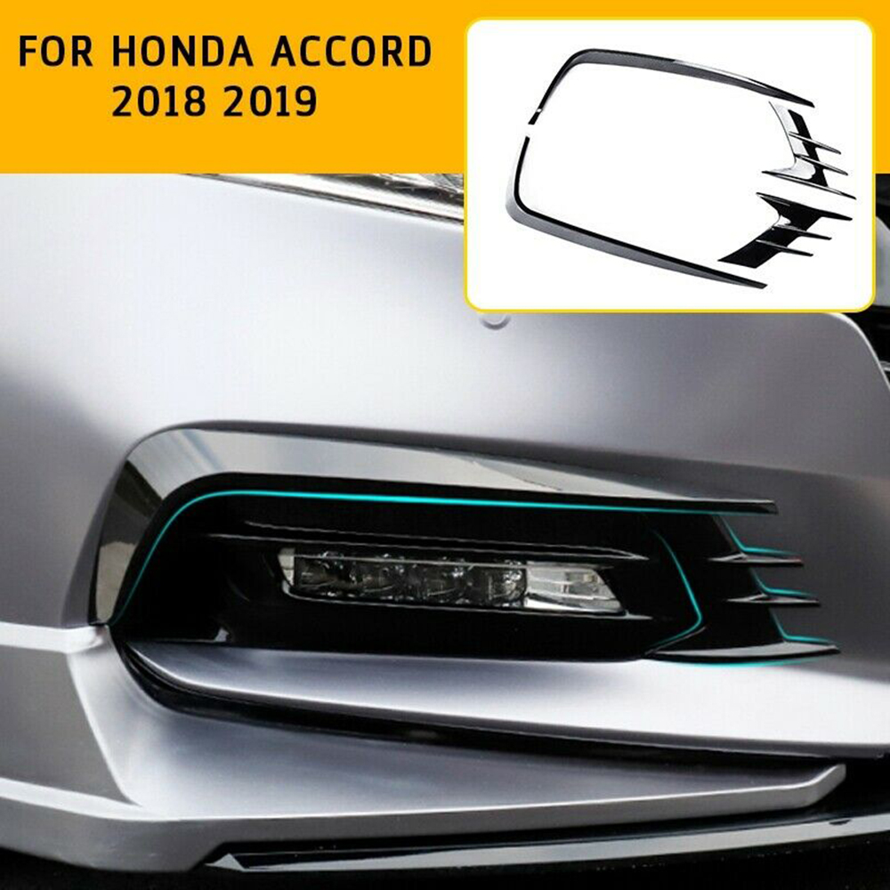 Car Exterior Accessories For Honda Accord 2018 2019 Bright Black Front Fog Lights Lamp Eyebrow Decoration Cover Sticker Trim