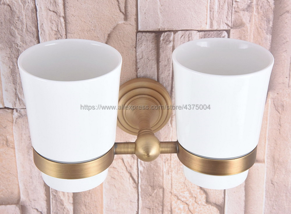 Wall Mounted Antique Brass Double Cup Holder Toothbrush Holder with Two Ceramic Cups Rack Tumbler Holder Nba736 image