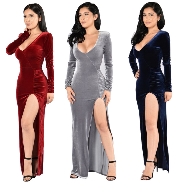 5dc36379d915 Mature Elegant Women Party Dress velvet Deep V Neck Sexy Split Solid Long  Sleeve Lady Sheath Bodycon Ball Gown Dresses Robe