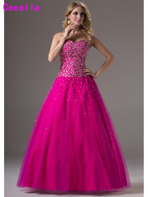 2019 Real Glitter Long Ball Gown Prom Dresses For Senior Sweetheart Corset Beaded Crystals Tulle Princess Prom Gowns Formal