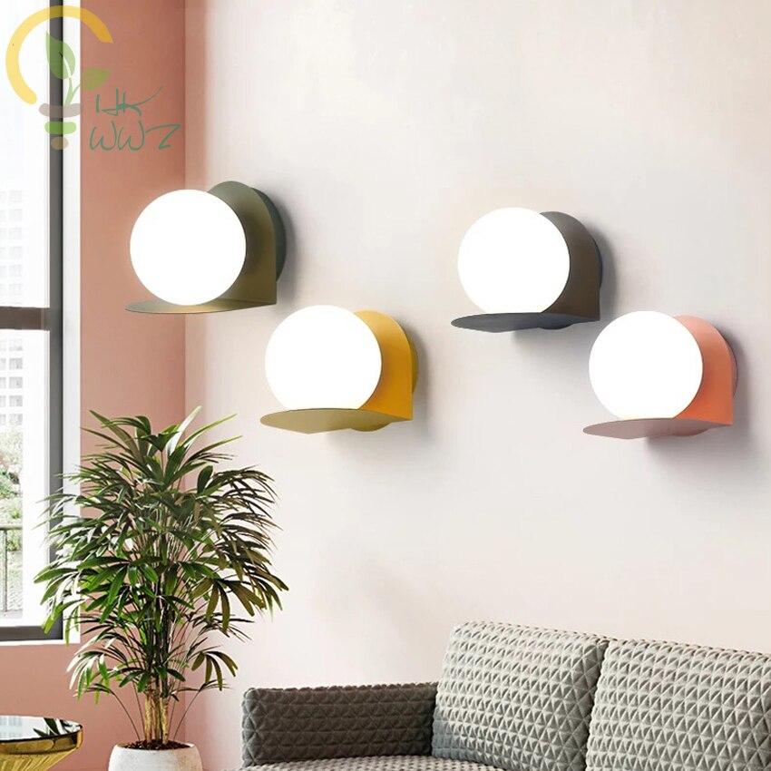 Nordic Luminária Criativa E27 Lâmpadas de Parede de Cabeceira Sala de estar Simples 4 Macarons Cor Ferro Levaram Luzes de Parede de Luz Da Escada