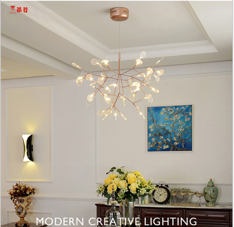 2017 new hot lustre rose gold iron vintage fireflies bedroom lamp led pendant lights top novelty indoor lights fireflies light in pendant lights from lights