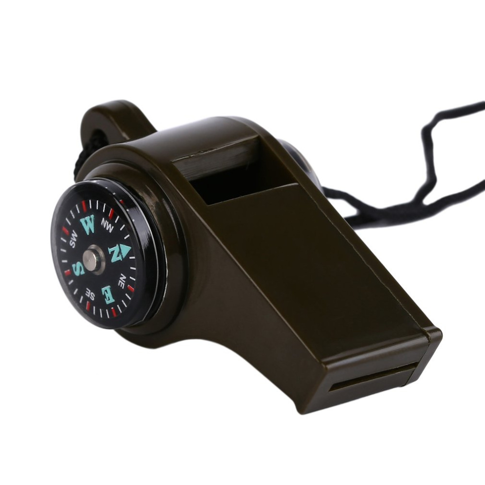 Camping Survival Whistle Durable Plastic 3 in1 Olive Green Whistle Compass Thermometer For Outdoor Emergency Gear