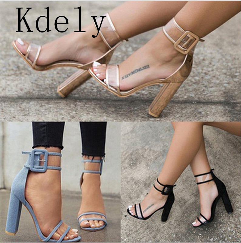 2019 PVC Jelly Sandals Crystal  Open Toed High Heels Women Transparent Heel Sandals Slippers Discount Pumps Plus Size 43