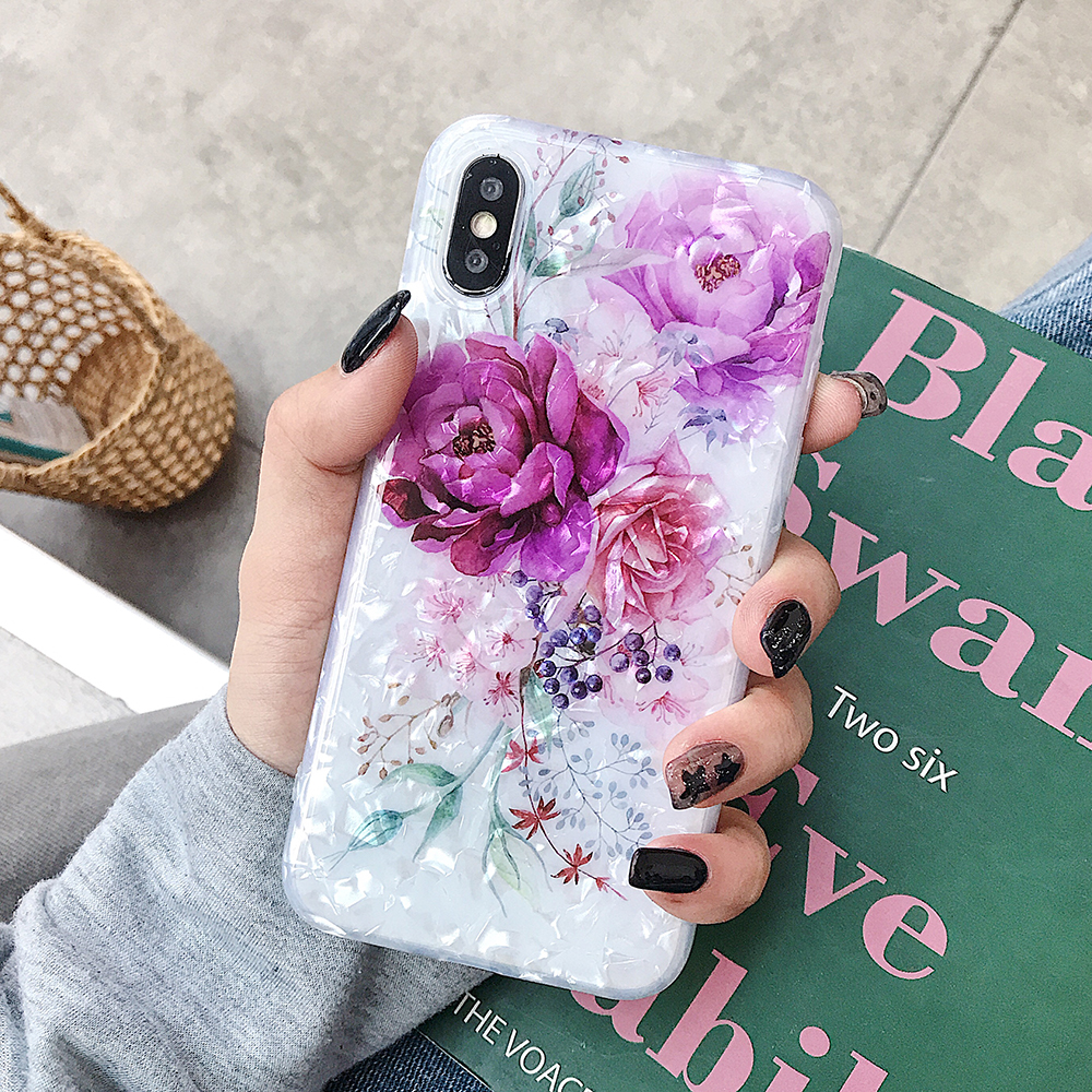 LOVECOM Retro Floral Ring Stand Phone Case For iPhone Models 32