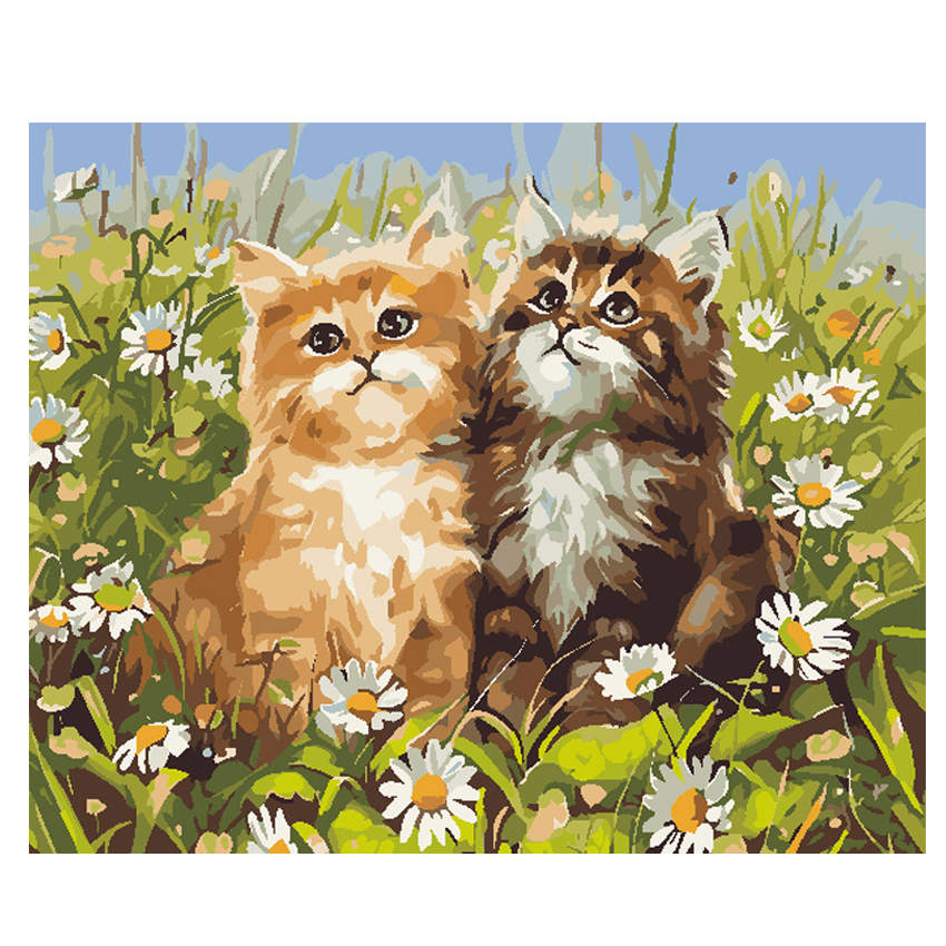 RIHE Glassland Cat DIY Painting By Numbers Kit Acrylic Paint Modern Wall Art Picture Canvas Decor 40*50cm