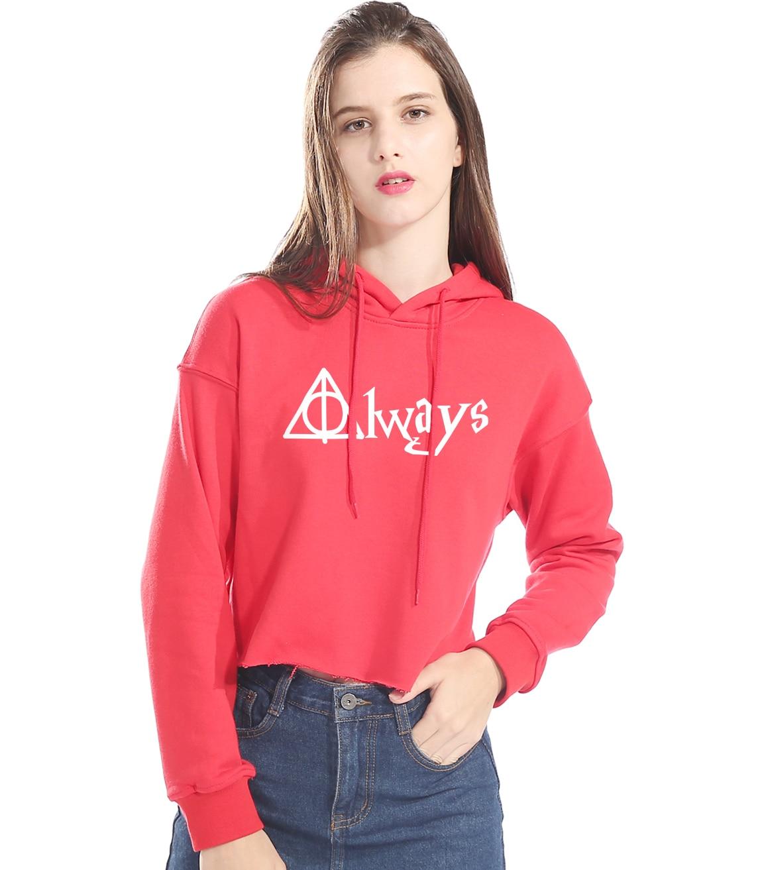 Womens Hoodies 2018 Hot Sale Short Sweatshirt Lady Sexy Kawaii Print ALWAYS Brand Kpop Clothing Hoody With Hat Hoodie Harajuku