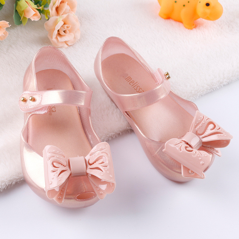 Melissa Big Bow 2018 New Children Sandals Girls Jelly Sandals Girls Melissa Shoes Soft Girls Princess Shoes 13.8-16.2cm