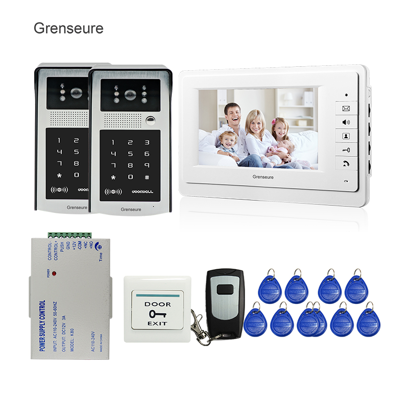 FREE SHIPPING New 7 LCD Monitor Video Intercom Door Phone System + 2 Waterproof RFID Access Keypad Doorbell Cameras + Remote