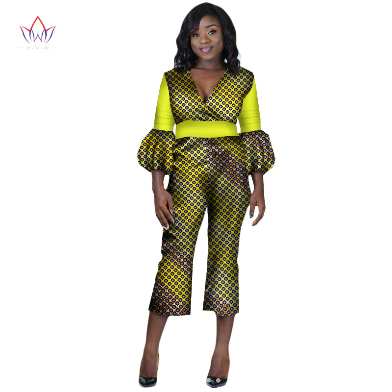 beautiful and cheap african women jumpersuit with print women african clothing v-neck dashiki pant plus size regular 7xl WY2246