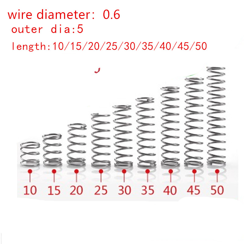 20pcs/lot  0.6mm 0.6x5mm Stainless Steel Compression Spring Wire Diameter 0.6mm Outer Diameter 5mm Length 10-50mm