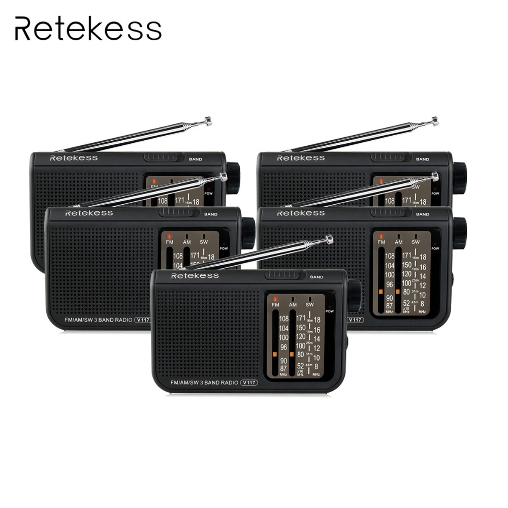 5 pcs Portable Radio Retekess V-117 3 Band FM / AM / SW Radio Battery Powered Emergency Receiver Radio Station F9207A 10 pcs pocket radio 9k portable dsp fm mw sw receiver emergency radio digital alarm clock automatic search radio station y4408h