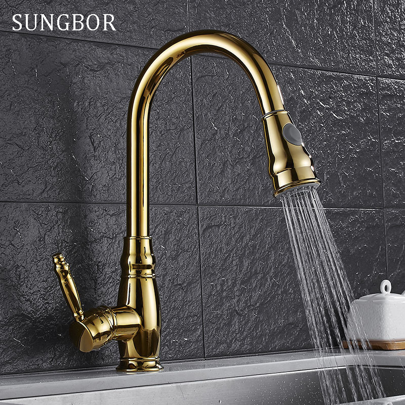 Luxury Golden Handheld Pull Out Kitchen Faucet Deck Mounted 360 Swivel Kitchen Mixer Hot and Cold