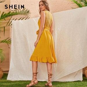 Image 2 - SHEIN Geel Lace Panel Ruche Zoom Belted Zomer Boho Midi Vrouwen Jurk Mouwloze Hoge Taille Dames Fringe Fit en Flare jurken