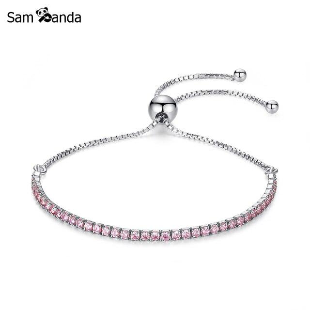 7b288b75853fd US $8.53 30% OFF|Original 925 Sterling Silver Sparkling Strand Bracelet  Adjustable Rose Gold CZ Link Chain Fit Pan Bracelets Bangles -in Chain &  Link ...