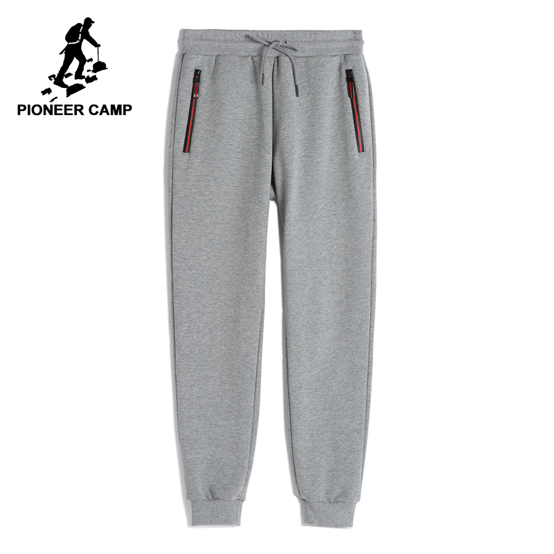 Pioneer Camp Fleece Sweatpants Men Casual Winter Autumn Black Thick Tight Track Pants Male 100% Cotton AWK702321