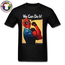The Riveter Vulgar Deadpool T-Shirts Mens Cool Dead Pool Comic Classic Tshirts 100% Cotton Fabric Men Tees Good Quality