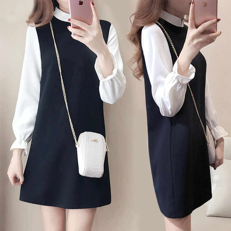 New Fashion Women Long Sleeve Patchwork Dresses Autumn Casual A Line Dress White Black Fake Two Pieces Sashes Women Office Dress